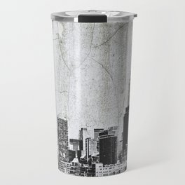 New York City Skyline Gray Texture Travel Mug