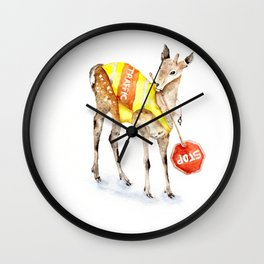 Traffic Controller Deer in High Visibility Vest Wall Clock