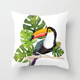 Watercolor toucan Throw Pillow