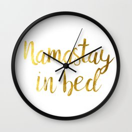 Namastay in bed in Gold Wall Clock