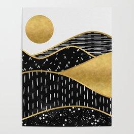 Gold Sun, digital surreal landscape Poster