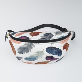 Seamless Pattern Watercolor Feathers ,White background with feathers Gift Fanny Pack