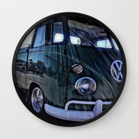 vw Wall Clocks featuring vintage vw by Joedunnz