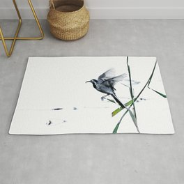 Little Bird (Wagtail - Eurasian Songbird) by The Reeds #decor #society6 #buyart Rug