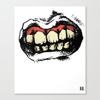 rooster teeth Canvas Prints featuring TEETH! by Helena Bowie Banshees