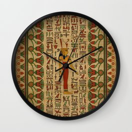 Egyptian Mut Ornament on papyrus Wall Clock