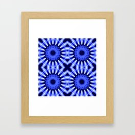 Blue Flowers Mandala Pattern Framed Art Print