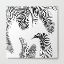 Black palm tree leaves pattern Metal Print