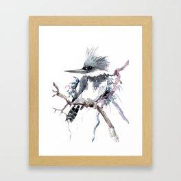 Belted Kingfisher, Gray design, Gray design Framed Art Print