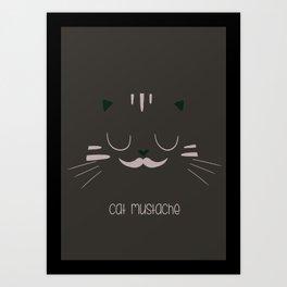 cat mustache Art Print