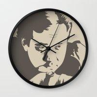 bill Wall Clocks featuring Bill Hicks by Finlay McNevin