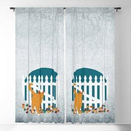 Orange Cat Picket Fence Blackout Curtain