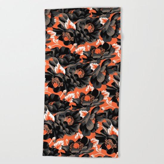 Mount Cook Lily - Orange/Black Beach Towel