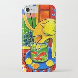 Henri Matisse - Le Chat Aux Poissons Rouges 1914, (The Cat With Red Fishes) Artwork iPhone Case