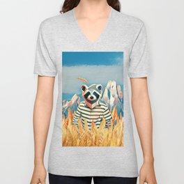 Raccoon in the wheat field Unisex V-Neck