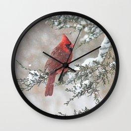 Snow Scene Cardinal Wall Clock