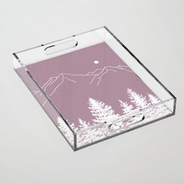 Mountains and Forest at Dusk Acrylic Tray