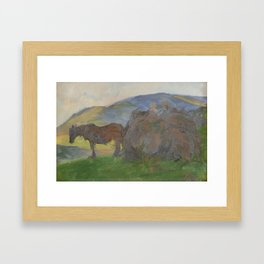 Frank Bramley (1857-1915) Carting bracken, Grasmere Framed Art Print