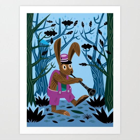 The Clarinet Bunny Art Print