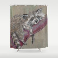 racoon Shower Curtains featuring Racoon sleeping by Pendientera