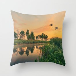 Summer dawn on a small river Throw Pillow