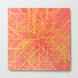 Random Lines Converging in the Center (Yellow/Orange/Red) Metal Print