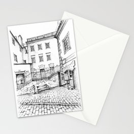 Urban scenery in the medieval town of Cesky Krumlov Stationery Cards