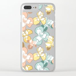 Soft Floral Print Clear iPhone Case