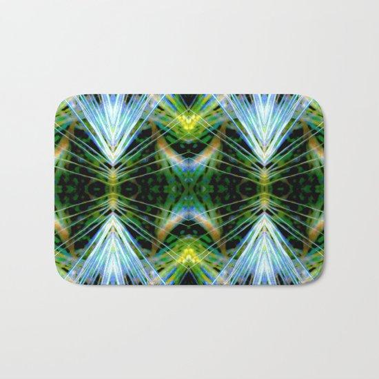 Blue Green Bright Rays,Fractal Art Bath Mat