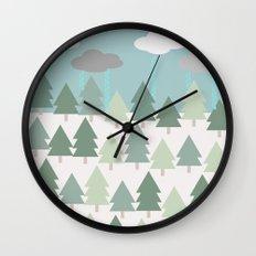 Pacific Northwest Tree and Rain Scene - Portland, PDX, Seattle, Washington, Oregon Wall Clock