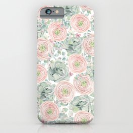 Flowers And Succulents White  #buyart #decor #society6 iPhone Case