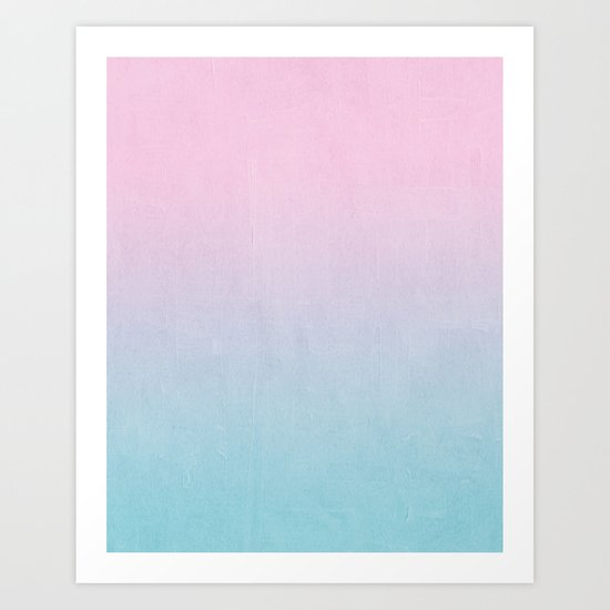 Dream fade pastel tropical chill painting abstract art for minimalist Art Print
