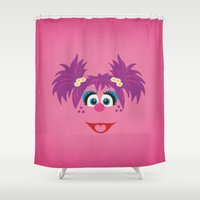 sesame street Shower Curtains featuring Sesame Street Vintage Nursery Art  Abby Cadabby Retro Style Minimalist Poster Print by The Retro Inc