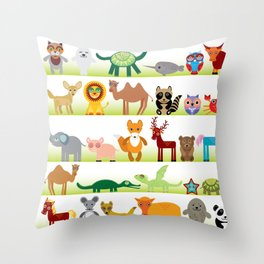 Set of funny cartoon animals character on white background Throw Pillow