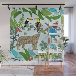 Leopard, toucan parrots and hand drawn tropical leaves and hibiscus pattern Wall Mural