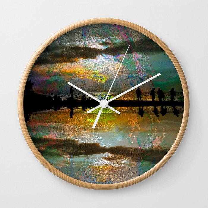 Abstract-art sunset Wall Clock