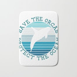 Save The Orcas Whales Protect The Ocean Snorkeling Adventure Sea Life Fish Dolphin Hawaii Bath Mat