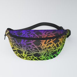 Fluttering pattern of neon squiggles and blue ropes on a black background. Fanny Pack
