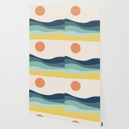 Abstract landscape with sea and sun Wallpaper