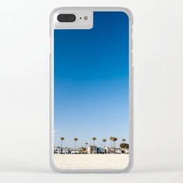 Beach front homes along the sand at Belmont Shore, CA Clear iPhone Case