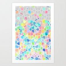 Rainbow Cubes & Diamonds Art Print