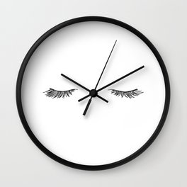 Closed eyes illustration - Lashes Wall Clock
