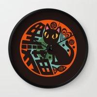 black cat Wall Clocks featuring Black Cat by BATKEI