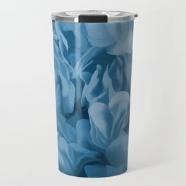 Midnight Blue Petal Ruffle Abstract Travel Mug