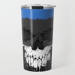 Flag of Estonia on a Chaotic Splatter Skull Travel Mug