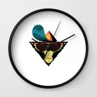 ape Wall Clocks featuring Ape by Mikhail Kalinin