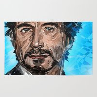 robert downey jr Area & Throw Rugs featuring RD JR by Balazs Pakozdi
