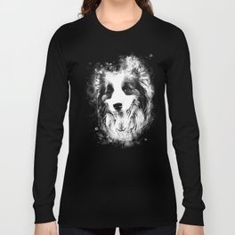 border collie shepherd dog splatter watercolor white Long Sleeve T-shirt