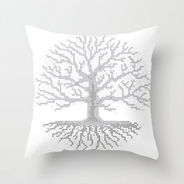 Pixel Art - Cross Stitch Chart - Grey Tree of Life - Throw Pillow
