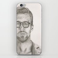 ryan gosling iPhone & iPod Skins featuring Ryan by Kristy Holding